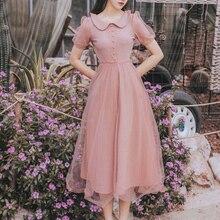Новая мода женское платье Питер Пэн воротник платья лето