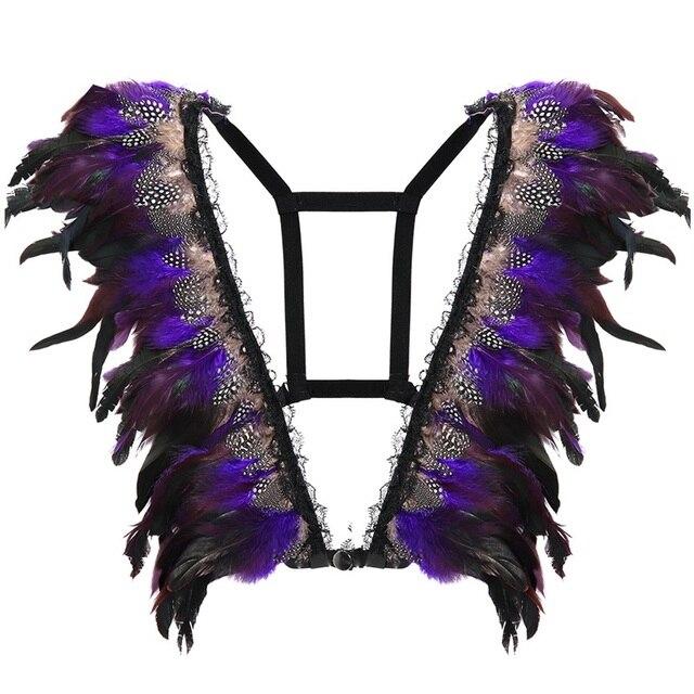 87ae0ffb90 2018 Purple Feather Wings Epaulettes For Women Bra Bondage Shoulder Burning  Man Festival Dance Rave Lingerie Goth Body Harness