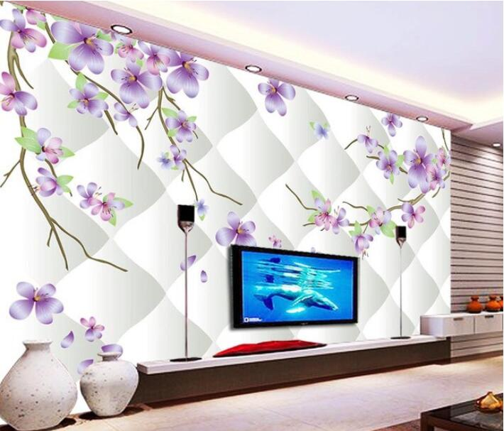 3d wallpaper custom mural non-woven 3d room wallpaper  Purple flowers 3D stereo TV background wall 3d wall murals wallpaper