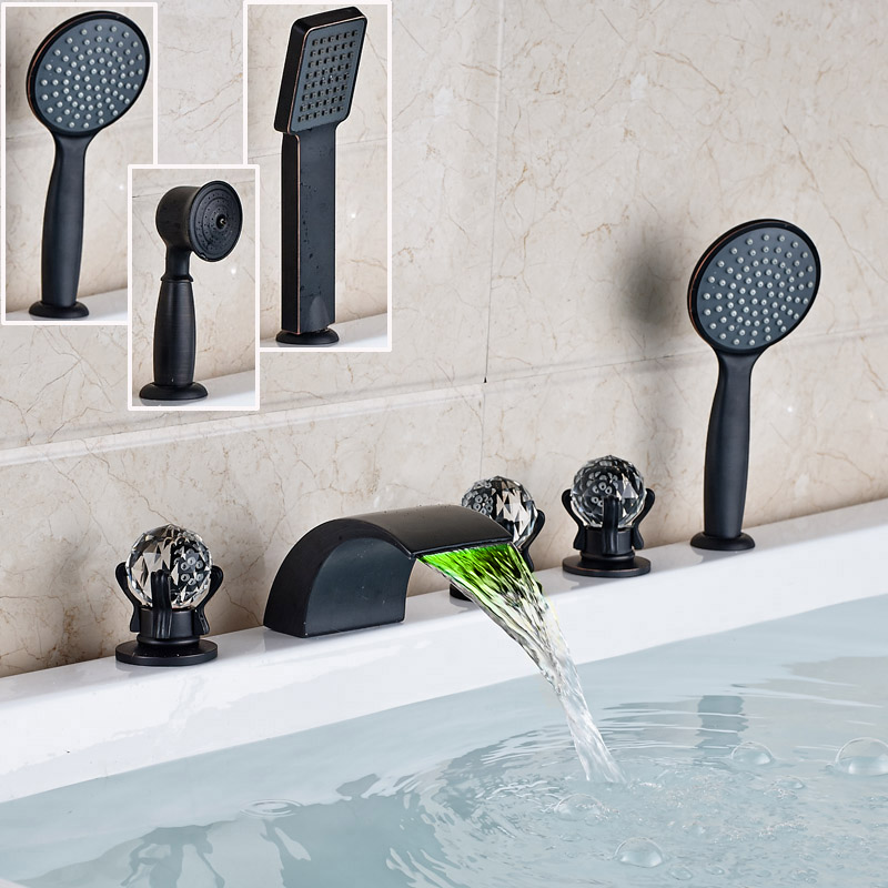 Luxury Color Changed Waterfall Spout 5pc Bathroom Roman Tub Faucet Deck Mount with Handshower