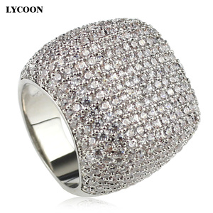 Image 5 - Anillo cuadrado de LYCOON para mujer, sortija de boda de lujo de circonia cúbica con incrustaciones chapadas en plata, anillos de compromiso elegantes para mujer