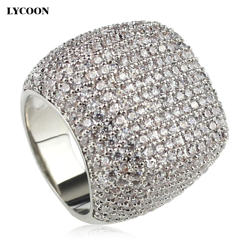 LYCOON Elegant square ring silver plated inlay  Cubic Zirconia luxury wedding rings woman graceful Engagement rings