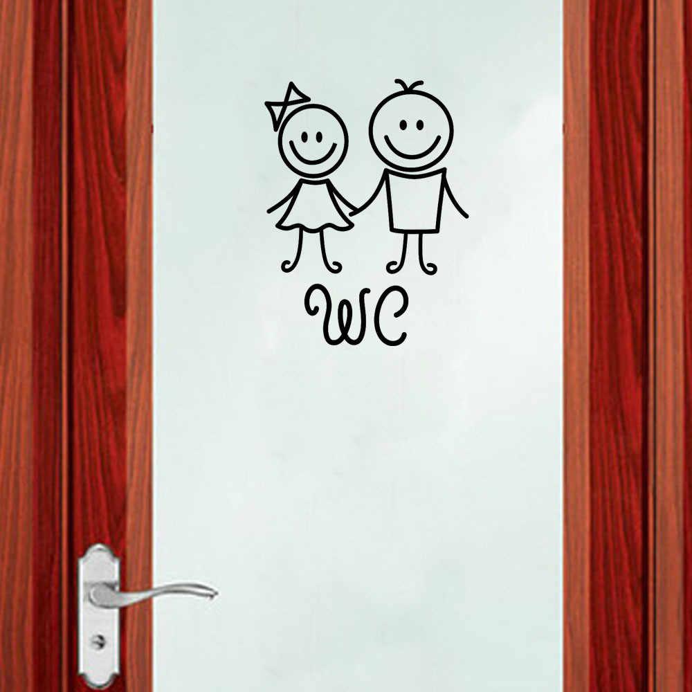 3d Muurstickers Verwijderbare Leuke Man Vrouw Kinderen Washroom Wc Wc Sticker Familie Diy Decor Decoratie Chambre