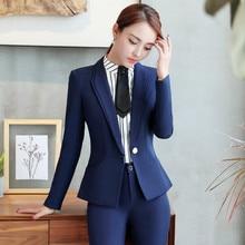 Brand design professional women's suit office business blue formal lady pants suit two black uniform suit jacket