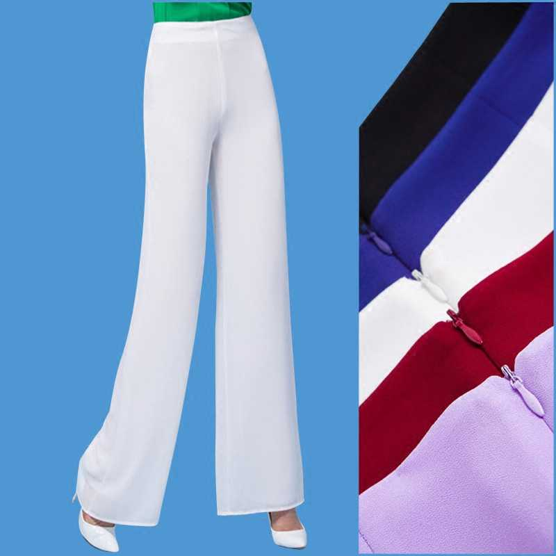 Straight Pants Mujer 2019 Autumn Chiffon Women Trousers High Waist Wide Leg Lady Pants Formal Pantalon Femme White Red Lavender