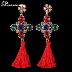 Dvacaman new colours fashion long tassel earrings vintage statement dangle drop earrings for wedding women brand.jpg 250x250
