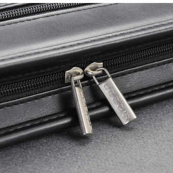 A4 leather document zipper bag black organizer bags men\'s manager bag briefcase for documents padfolio file zipped folder 1179B