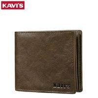 KAVIS Men Wallet Leather Vintage Bifold Wallet Purse Men Brands Design Wallet With Card Holder Money
