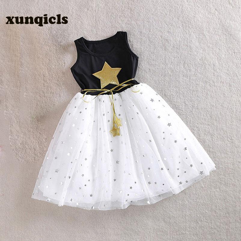 Xunqicls От 3 до 10 лет Детские Обувь для девочек Блёстки платье звезда печатных с поясом без рукавов нарядные платья принцессы для девочек