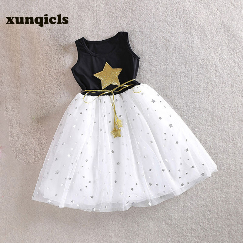 xunqicls 3-10Y Baby Girls Sequins Dress Star Tryckt med Belt Ärmlös Princess Party Kids Dresses