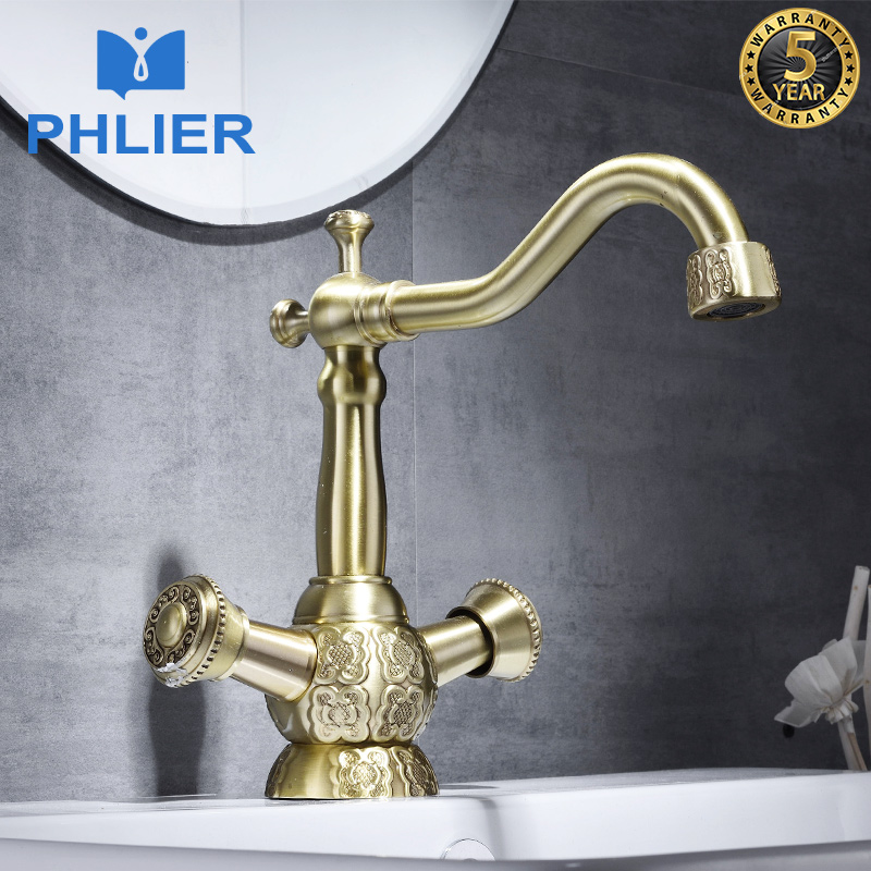 PHLIER Waterfall Bathroom Hot and Cold Water Washing Basin Faucet Gold Vintage Bathroom Tap Dual Holder Hot/Cold Mixer Water Tap
