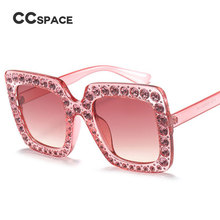 CCSPACE 10 Pieces Lot Diamond G Pink Glasses Square Oversized Sunglasses Women Luxury Brand Designer Shades Big Frame 45195