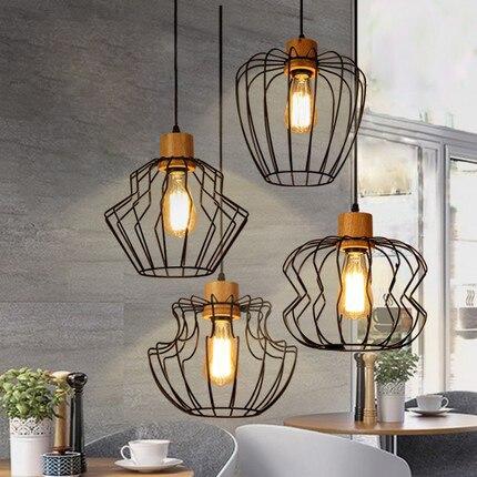 Nordic Modern Black Metal Wood Single Droplight American Pendant Lights Fixture Home Indoor Lighting Dining Room Restaurant Lamp