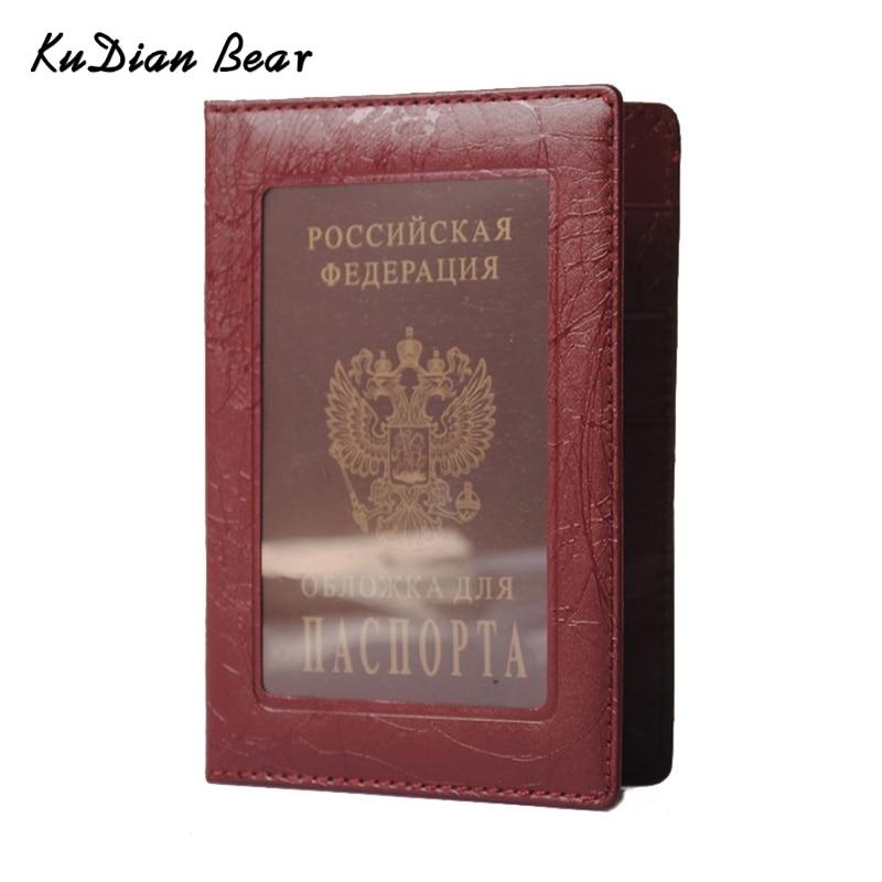 KUDIAN BEAR Lederen Russische paspoort Cover Business Case Modeontwerper Creditcardhouder Paspoort Houder - BIH006 PM49
