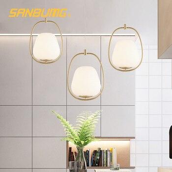 SANBUMG Nordic Modern Creative Ring Pendant Lights Golden E27 Base for Living Room Bedside Restaurant Hotel Porch Balcony Bar