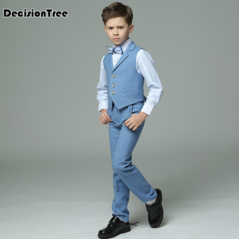 a245bb062 2019 new boys suits plaid light blue vest sets wedding suits for kids  tuxedos boys wedding clothes terno meninos