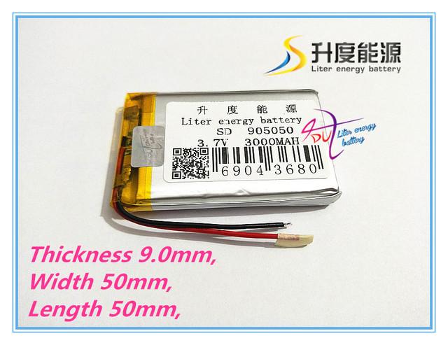 3.7 V-3000 mah/905050 bateria de polímero de Bateria Filmadora Projetor