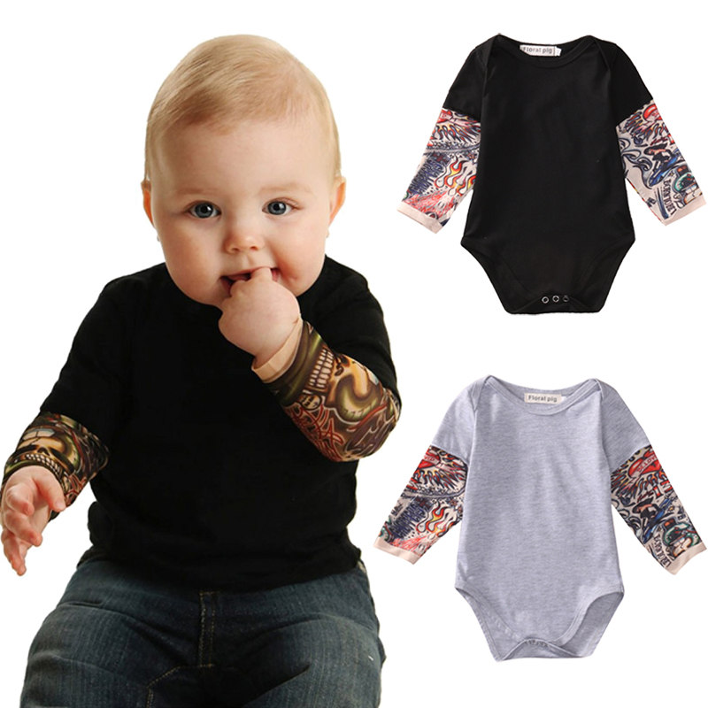 Newborn Toddler Kids Baby Boy   Romper   Jumpsuit Little Boys   Rompers   Long sleeve Tattoo printing Baby girl boys clothing Outfits