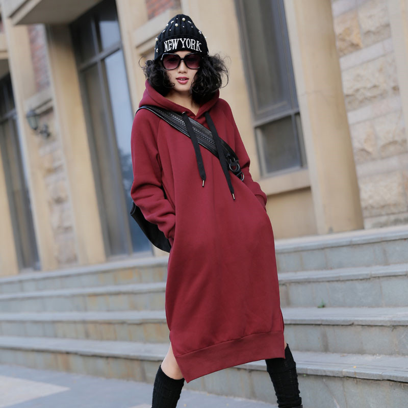 Hooded Sweater  autumn and winter code in the long section of pregnant women dress cashmere thickening red large size krishna datt bhatt t gondii in pregnant women