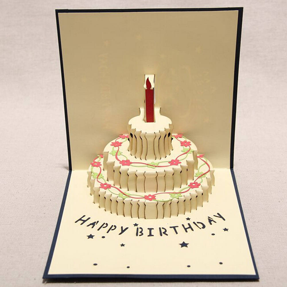 10 Pieces LotCreative Birthday Cake Small Cartoon Greeting Card Message 3D Cards With Envelope