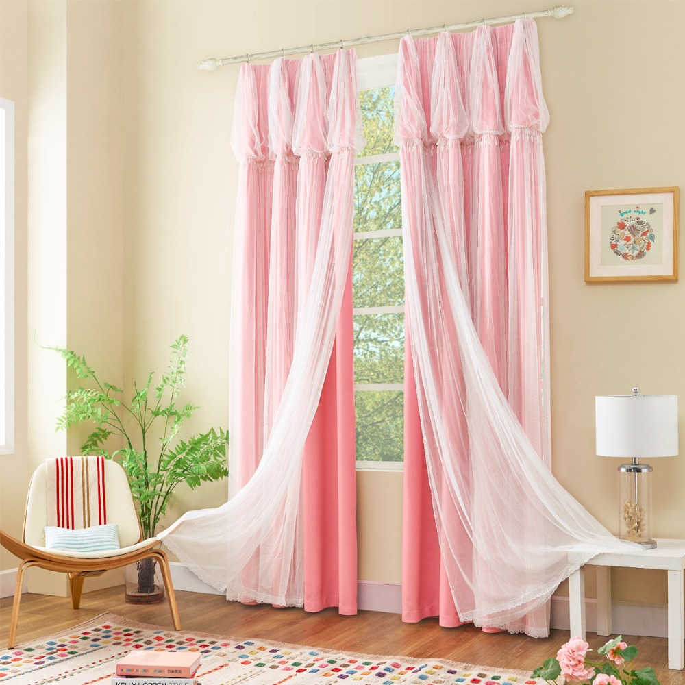 GIGIZAZA Pink Dream Double Layer Tulle with Blinds Lining Window Curtains with Tassel Lace For Bed room Light Shading beige