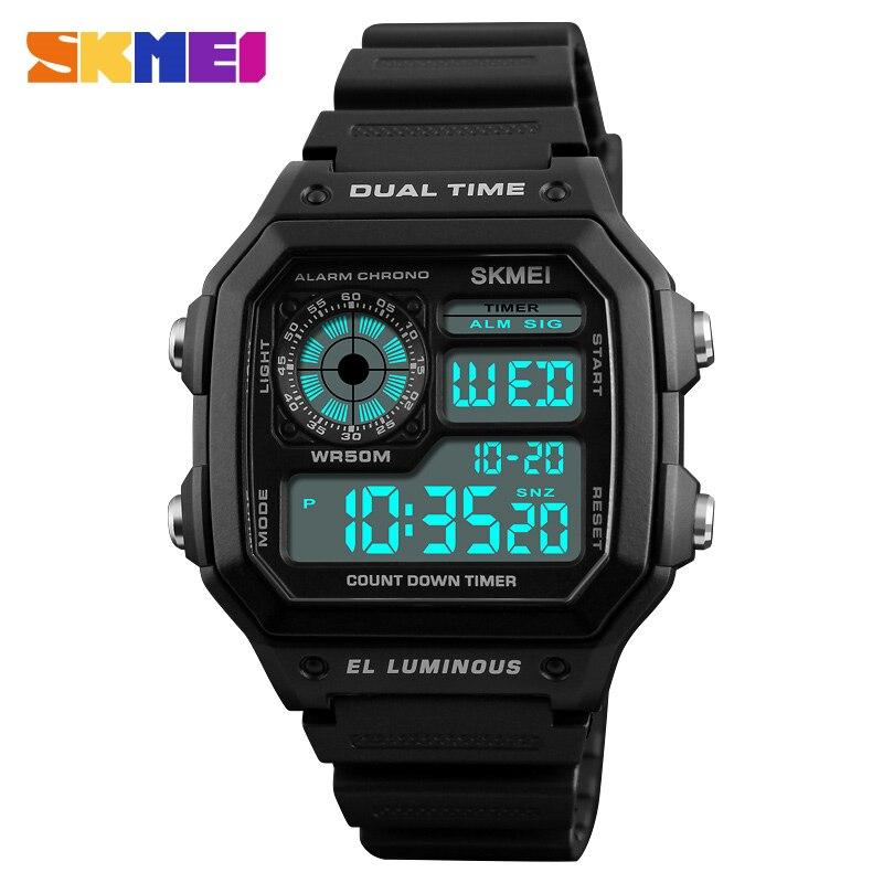 8d562facc4d SKMEI Esportes Da Forma Relógios Homens À Prova D  Água Digital de Contagem  Regressiva Alarme do Relógio Em Aço Inoxidável Masculino Relógios de Pulso  ...