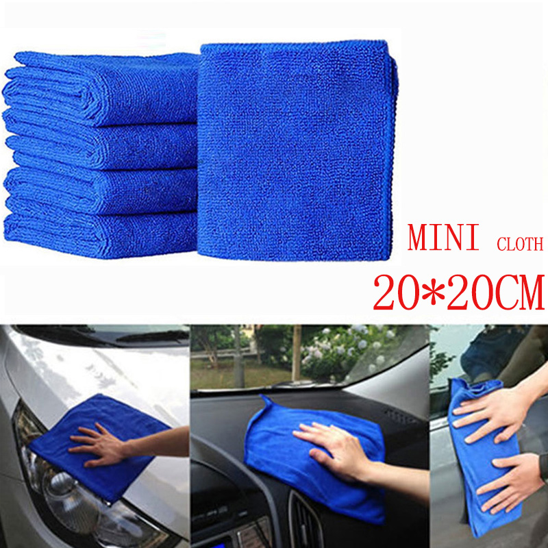 20*20cm 5pcs Cleaning Cloth Microfiber Car Wash Towel Car Car Waxing Polishing Drying Detailing Car Care Kitchen Housework Towel