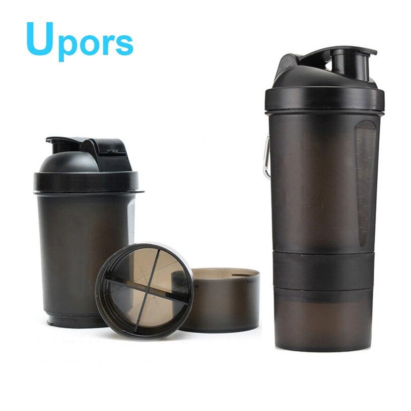 Yüksek Kaliteli Peynir Altı Suyu Protein Shaker Şişe Plastik Içecek Fitness Spor Blender Su Şişesi BPA Ücretsiz Shaker Fincan 500 ML