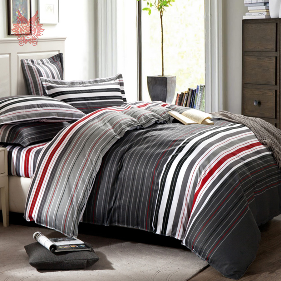 online buy wholesale geometric comforter from china geometric  - american style striped bedding set cotton duvet cover set geometriccomforter cover set queen