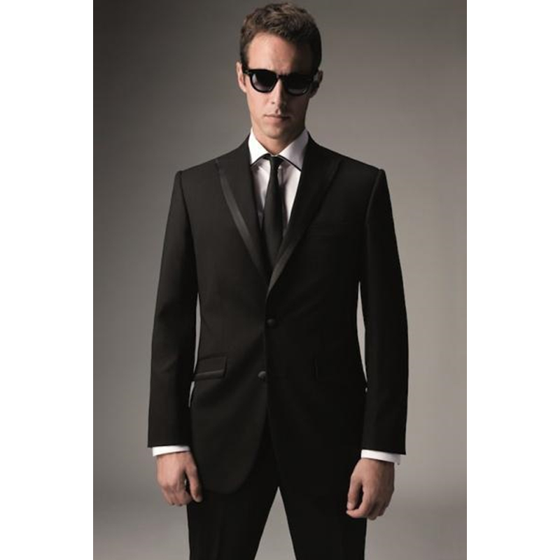 Custom made two buttons groom tuxedos black suitable for wedding and some important occasions Men's Sets( Jaket+Pants)