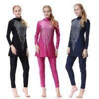 Long Sleeve 3 Color Swimsuit Sport Women Swimwear Muslim Clothe Anti Exposure Beach Comfortable Swimming