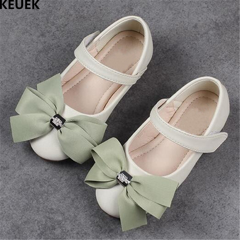 New Children Leather Shoes Girls Princess Fashion Bowtie Rhinestone Dance Shoes Party Student Genuine Leather Kids Flats 03 kids glitter sandals elegant princess dance wedding dance party leather shoes heel student