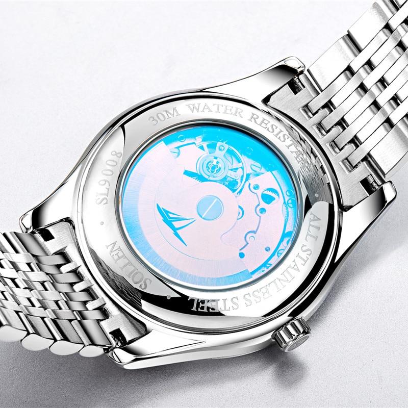 Marque de luxe SOLLEN noir entièrement en acier inoxydable automatique montre mécanique hommes Auto Date Designer hommes montres horloge mâle Relogio - 4