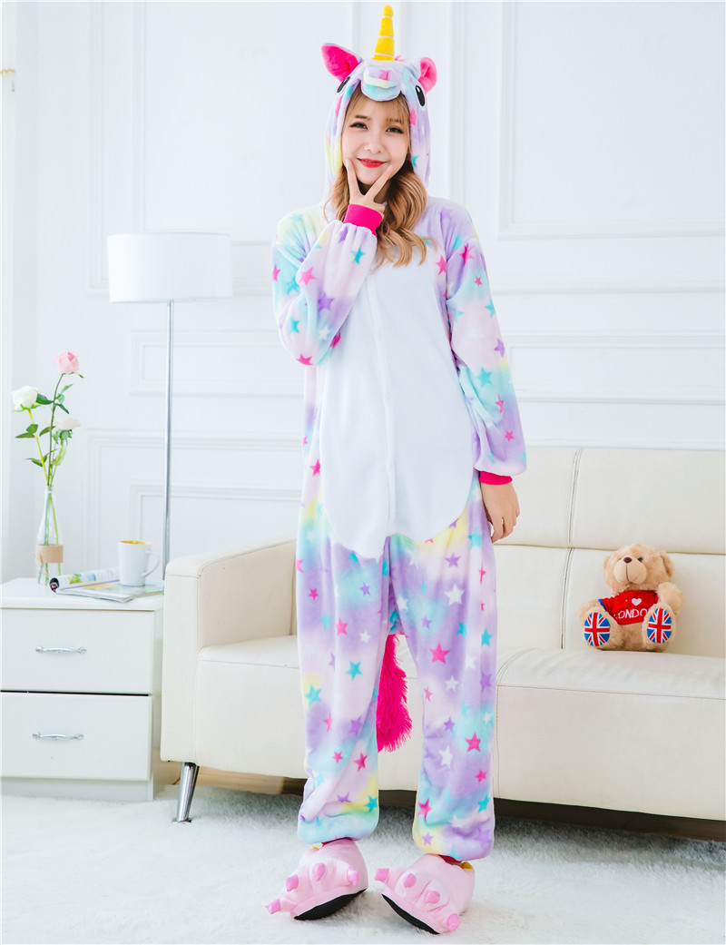 Warm winter Animal Adult Unisex Onesies Star Unicorn Pajama Cartoon Sets Halloween Pyjama Sleepwear Cosplsy Costumes