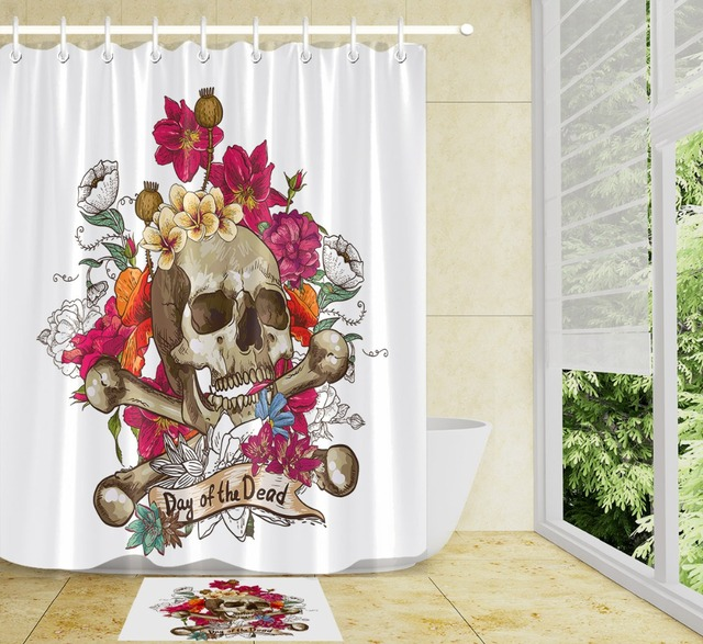 LB 72 Day Of The Dead White Shower Curtains Sugar Skull Flower Halloween Polyester