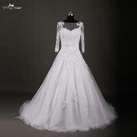 RSW772 Free Gift Jacket And Removable Shoulder Straps Long Sleeve Lace Vintage Wedding Dress