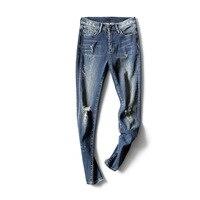 Ropa рваные для Roupa Calca Feminina уличная Для женщин на лето и весну осень Высокая Талия Xadrez узкие РК джинсовые брюки
