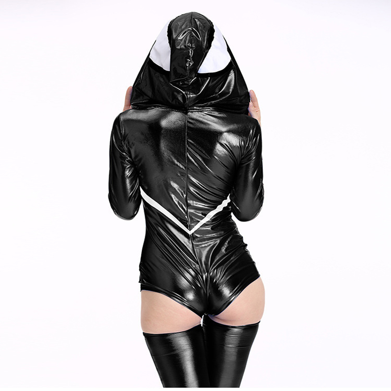 Free shipping Spider Women Costume Black Zentai Suit Sexy Costumes Women Halloween lady Hoodie Venom Spiderman Jumpsuit with hat in Movie TV costumes from Novelty Special Use