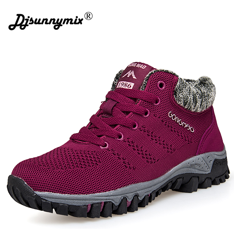 DJSUNNYMIX Women Winter shoes fly weaving Warm shoes with fur Women Round Toe breathable Sneakers Female Mujer