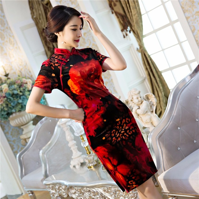 Free Shipping Velvet Red Qipao Traditional Chinese Dress Women's Clothing Cheong-sam China Dresses