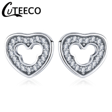 CUTEECO 2018 Trendy Newest Silver Color Love Heart Shape Mickey Brand Stud Earrings with CZ for Women Wedding Fashion Jewelry