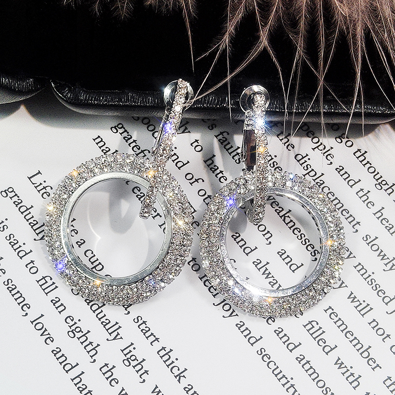 HTB1GS.AXiDxK1RjSsphq6zHrpXa7 - NEW 925 silver needle rhinestone circle crystal from Swarovskis earrings temperament Korean personality wild Mother's Day gift