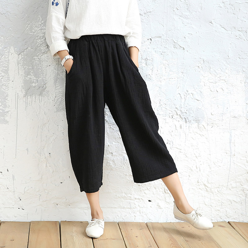 7 Candy color Solid Elastic waist Women Wide leg Pants Summer Cotton Casual Capris Pants Original design Wide leg Trousers C058