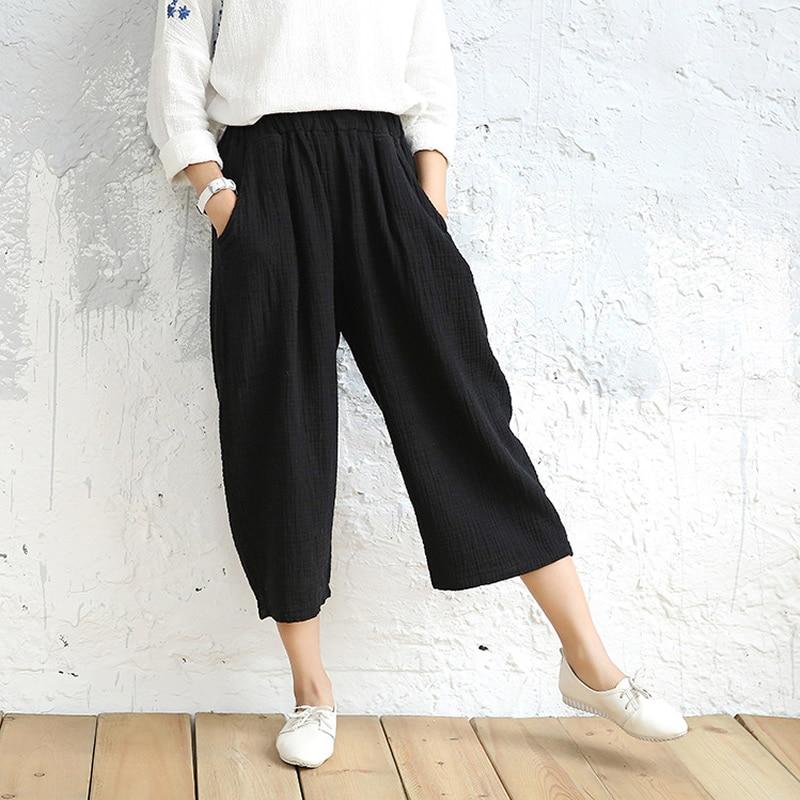 7 Candy color Solid Elastic waist Women Wide leg   Pants   Summer Cotton Casual   Capris     Pants   Original design Wide leg Trousers C058