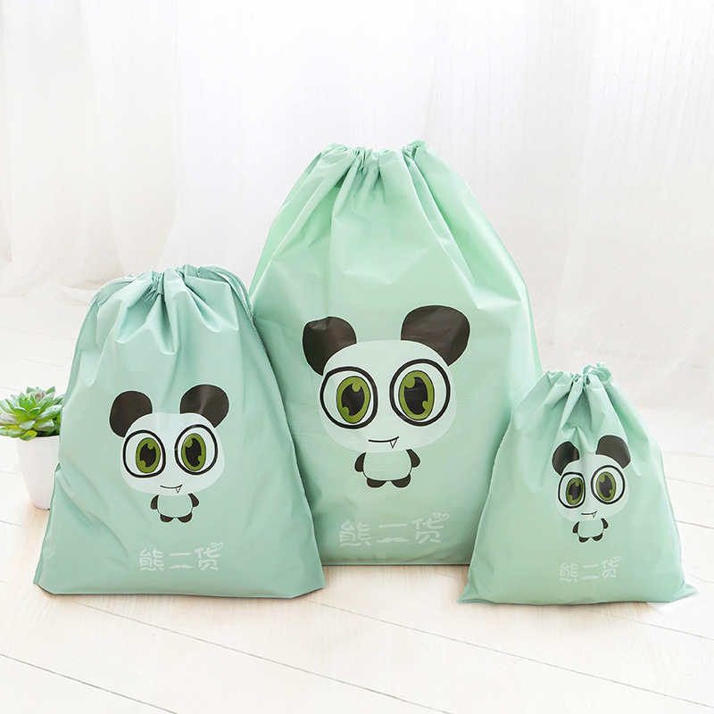 3pcs Animal Cartoon Print Drawstring Bag Eva Pouch Clothes Storage Sport Travel Cinch Tote Set Warm And Windproof Clothing & Wardrobe Storage