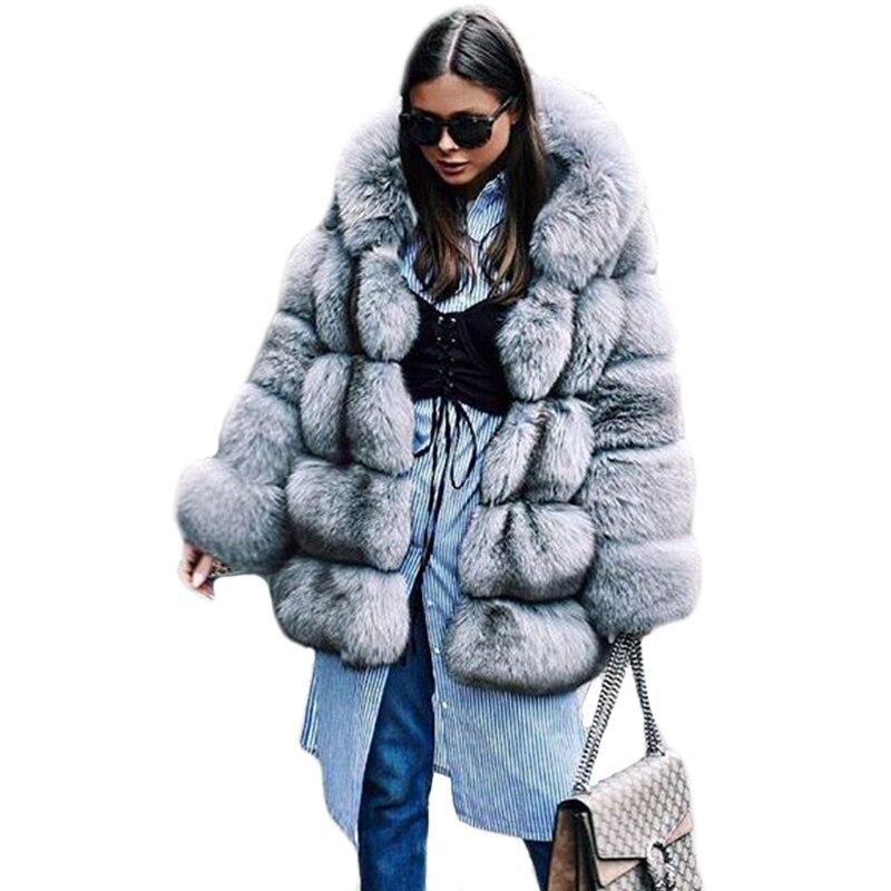 הגעה חדשה 2017 החורף עבה חם נשים פרווה סלעית מלאכותי מעיל פרוות שועל רסיס גבירותיי פו מעילי הפרווה האדרת PC263