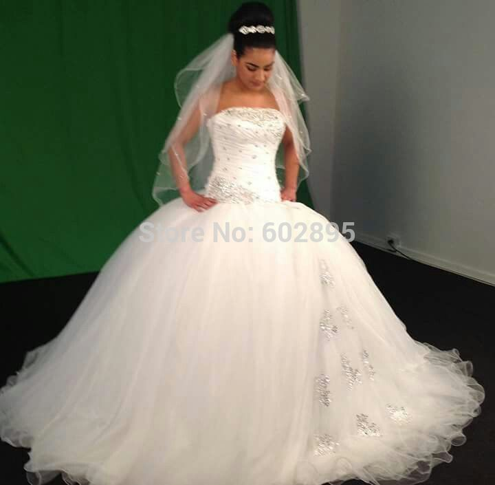 Awesome Stones Sequined Strapless Tulle Puffy Wedding Gown
