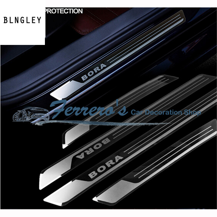 Free shipping 4pcs/lot Slim Door Sill Scuff Plates pedal car stickers car styling FOR 2013 2014 <font><b>2015</b></font> 2016 <font><b>Volkswagen</b></font> VW BORA image