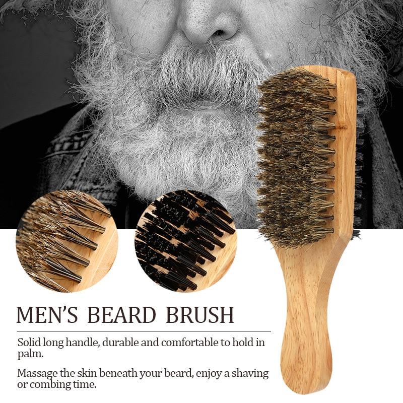 Double-sided Men's Beard Brush Wood Handle Shaving Brush Men Mustache Brushes Comb Facial Hair Brush Male Face Message Tool
