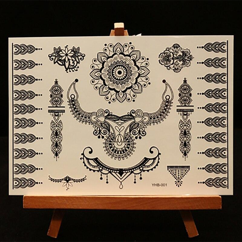 Black Henna Tattoo Paste: 1 Sheet Black Henna Tattoo Paste Lace Designs Fake